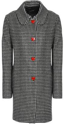 Love Moschino Snap-Detailed Gingham Wool-Blend Coat
