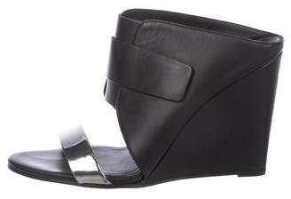 Vince Leather Slide Wedges