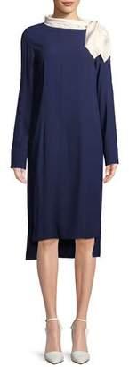 Marni Long-Sleeve Midi Dress with Satin Scarf, Blue