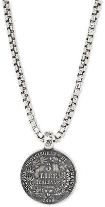 """Degs & Sal Men's Ancient-Look Italian Lire Coin 24"""" Pendant Necklace in Sterling Silver"""