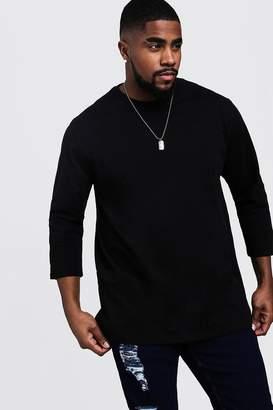 boohoo Big & Tall Longline 3/4 Sleeve T-Shirt