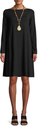 Eileen Fisher Long-Sleeve Bateau-Neck Viscose Jersey Shift Dress, Plus Size