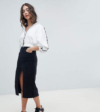 Pull&Bear split front midi skirt in black