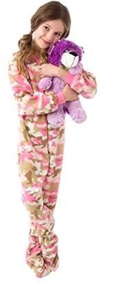 Big Feet PJs Pink Camo Junior Fleece Footed Pajamas