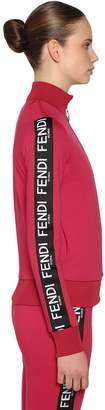 Fendi Logo Bands Zip-Up Jersey Sweatshirt