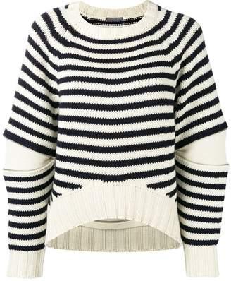 Alexander McQueen zipped elbows striped jumper