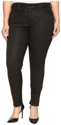 NYDJ Plus Size Plus Size Alina Legging Jeans in Faux Leather Coating in Black Grey Leather Coating Women's Jeans