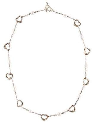 Tiffany & Co. Pearl & Open Heart Station Necklace