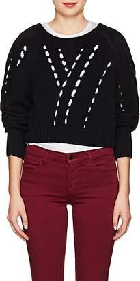 Alexander Wang Women's Twill-Paneled Cotton Crop Sweater