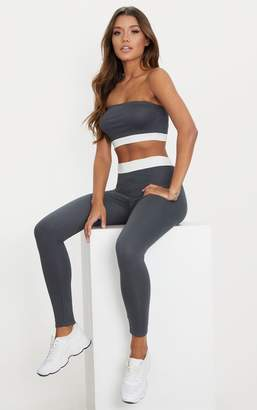 PrettyLittleThing Charcoal Contrast Waist Band Leggings