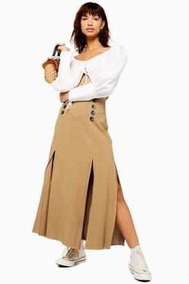 Topshop Womens Button Midi Skirt - Tan
