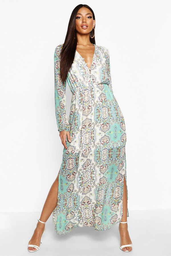 Cage Detail Paisley Woven Maxi Dress