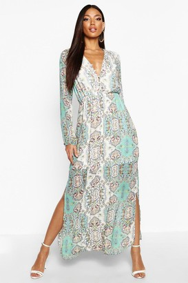 boohoo Tanya Cage Detail Paisley Woven Maxi Dress