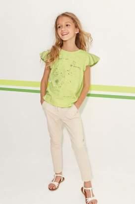 Next Girls Green Short Sleeve Frill T-Shirt (3-16yrs)