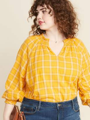 Old Navy Plaid Smocked Split-Neck Plus-Size Blouse