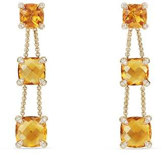 David Yurman Châtelaine Linear Chain Earrings with Citrine & Diamonds in 18K Gold