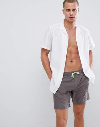 Asos DESIGN Swim Shorts In Gray With Neon Yellow drawcords Mid Length