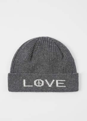 024bda8b010 Paul Smith Men s Grey  Peace And Love  Wool Beanie Hat