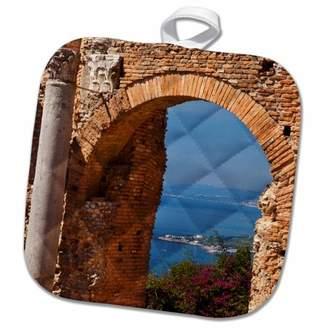 Sicily 3dRose Greek Theatre, Taormina, Sicily, Italy - EU16 BJN0185 - Brian Jannsen - Pot Holder, 8 by 8-inch