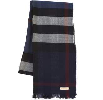 Burberry Navy Cashmere and Wool Signature Plaid Scarf (New with Tags)