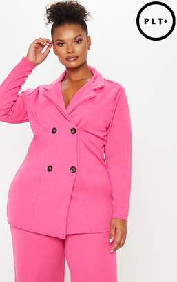 PrettyLittleThing Plus Pink Tortoise Button Oversized Double Breasted Blazer