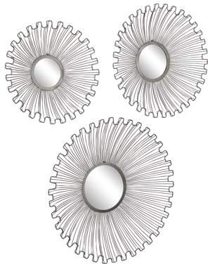 DecMode Decmode Modern Tin And Glass Round Black Sunburst Wall Mirrors, Gunmetal - Set of 3