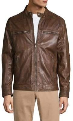 Rogue Zip-Up Leather Moto Jacket