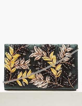 M&S Collection Velvet Embroidered Clutch Bag