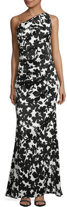 Nicole Miller NEW YORK Floral One-Shoulder Gown