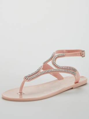 Very Sparkle Embellished Toe Post Jelly Sandal - Nude