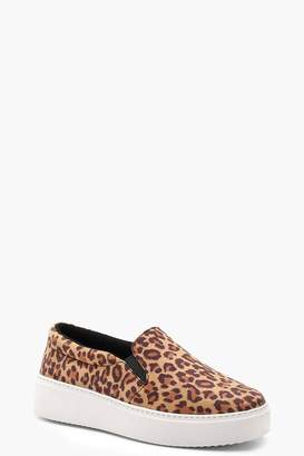 boohoo Leopard Platform Skaters