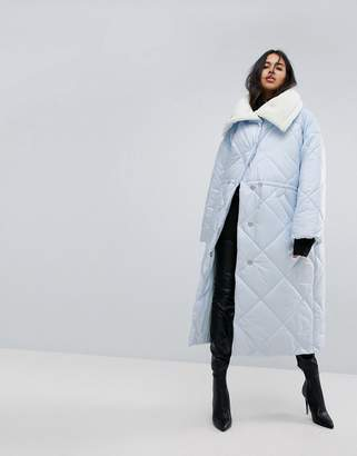 Asos Design Maxi Puffer Jacket With Borg Lining