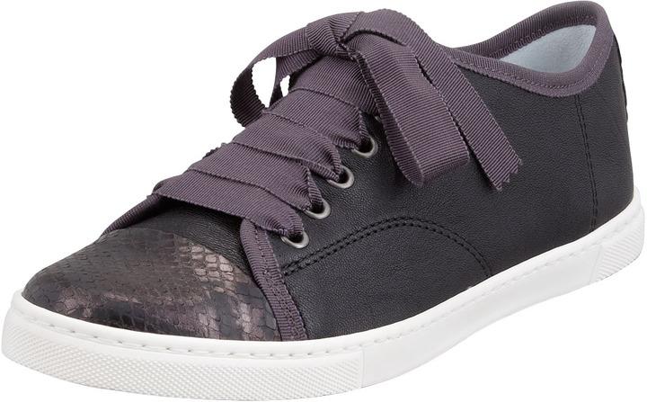 Lanvin Python-Cap-Toe Leather Sneaker, Black