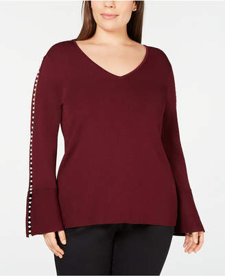 INC International Concepts I.n.c. Plus Size Pearl-Trimmed V-Neck Sweater