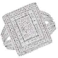 Lord & Taylor Sterling Silver, 1TCW White Diamond Rectangle Ring