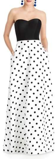 Alfred Sung Strapless Dot Block Sateen Gown