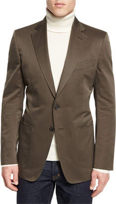 Tom Ford O'Connor Base Gabardine Sport Jacket, Olive