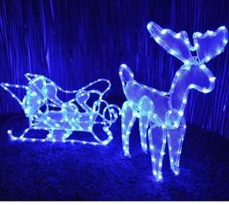 Kingfisher Reindeer & Sleigh Christmas Garden Decoration Large Blue Led Rope Light Display