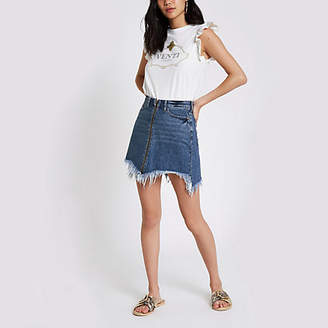 River Island Blue zip front frayed hem denim mini skirt