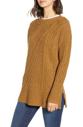 J.Crew Patchwork Cable Knit Oversize Tunic Sweater