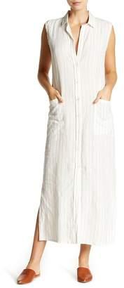 Frame Boyfriend Linen Maxi Shirt Dress