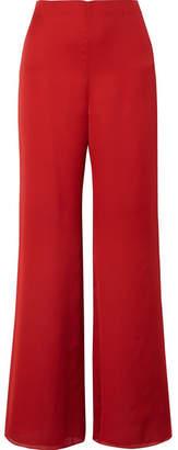 The Row Kiola Washed Silk-charmeuse Wide-leg Pants - Red