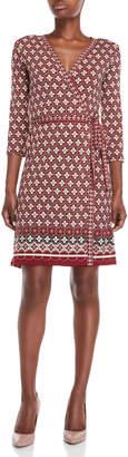 Max Studio Printed Mock Wrap Dress