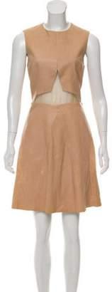 Cushnie Leather Cutout Dress w/ Tags Tan Leather Cutout Dress w/ Tags