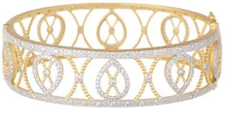 Freida Rothman 14K Yellow Gold Plated Sterling Silver Pave CZ Filigree Bangle