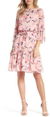 Eliza J Floral Bell Sleeve Chiffon Dress