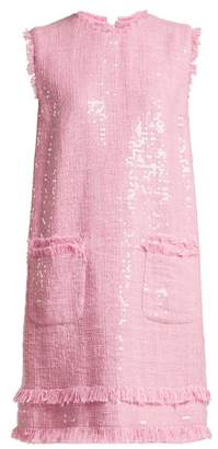 MSGM Sequin Embellished Cotton Blend Tweed Mini Dress - Womens - Light Pink