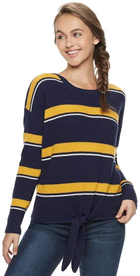 Juniors  Pink Republic Tie-Front Sweater 10daccff7