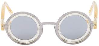 Double Frame Mirrored Round Sunglasses