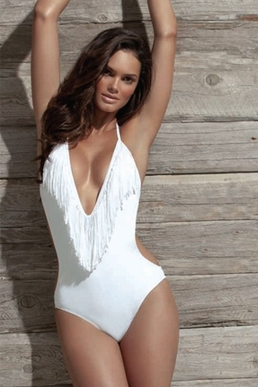 L-Space Stardust Fringe One Piece in White